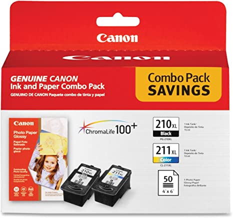 Canon PG-210 XL and CL-211 XL Ink and Glossy Photo Paper Combo Pack, Compatible to MP495,MP280,MP490,MP480,MP270,MP240, MX420,MX410,MX350,MX340 and ...