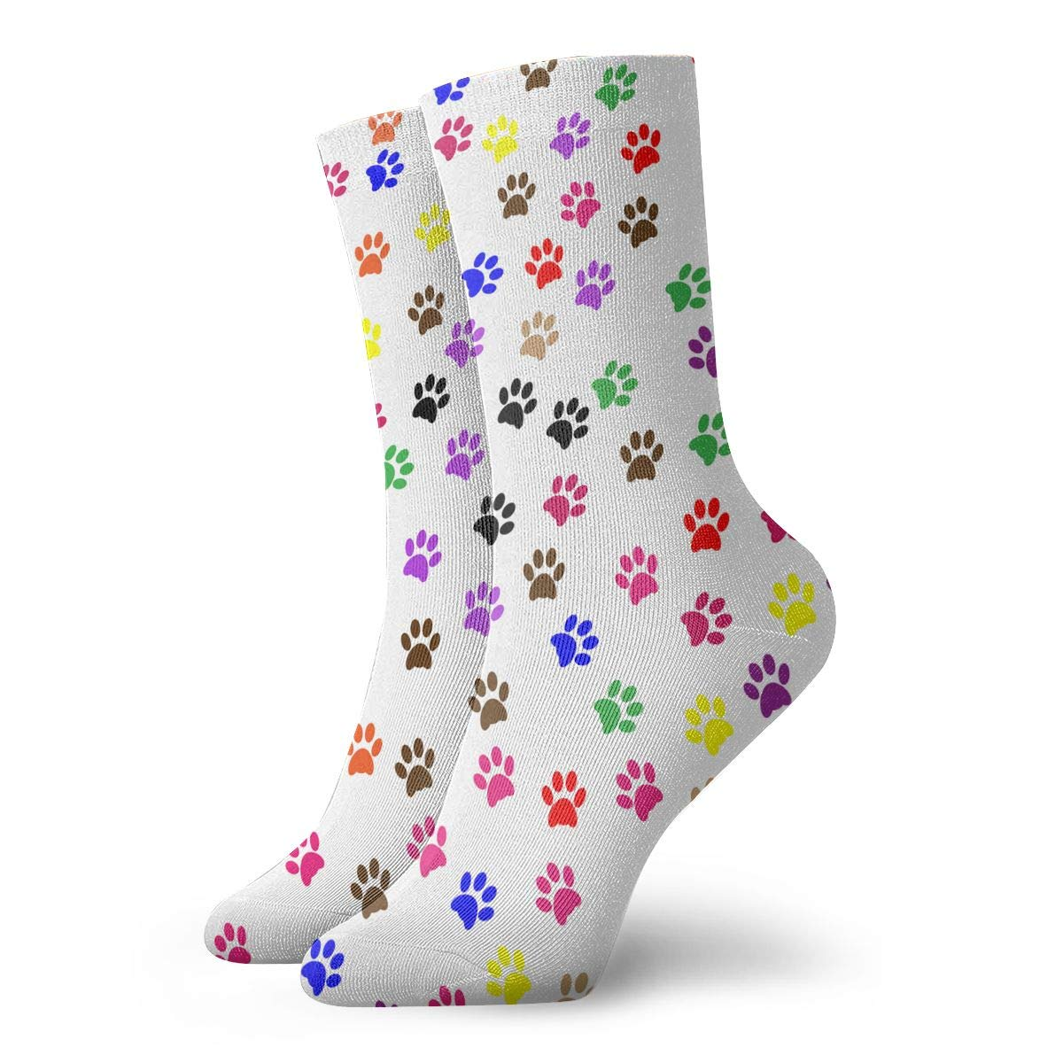 Colorful Dog Paw Print Unisex Funny Casual Crew Socks Athletic Socks For Boys Girls Kids Teenagers