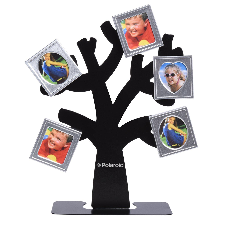 Polaroid marco árbol de familia. Árbol con el soporte y cinco marcos ...