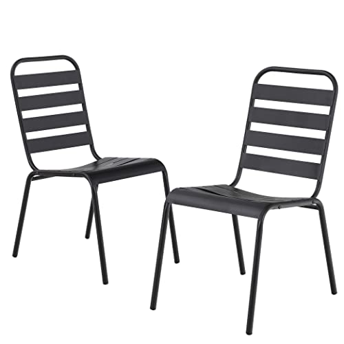 MF Outdoor Patio Metal Steel Dining Stackable Chairs Set of 2