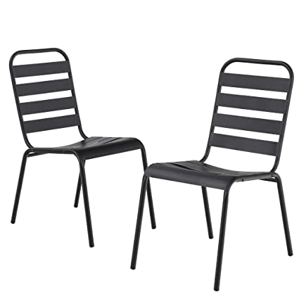 Remarkable Mf Outdoor Patio Metal Steel Dining Stackable Chairs Set Of 2 With Slat Seat For Garden Backyard Support 300Lbs Black Gmtry Best Dining Table And Chair Ideas Images Gmtryco