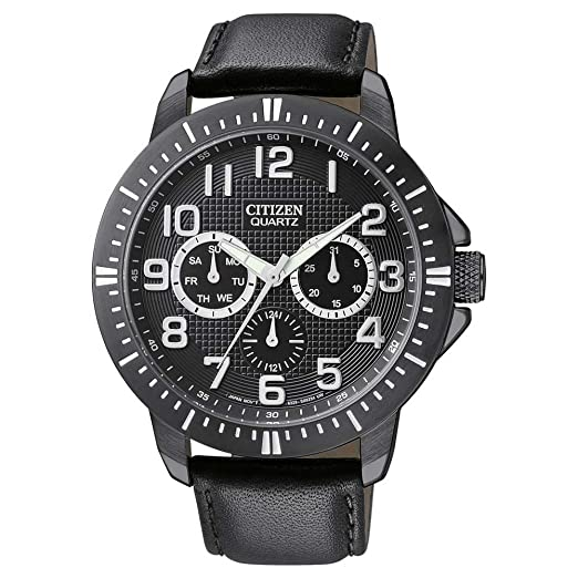 Citizen Quartz Day-Date Sports Black Dial Men's Watch - AG8315-04E