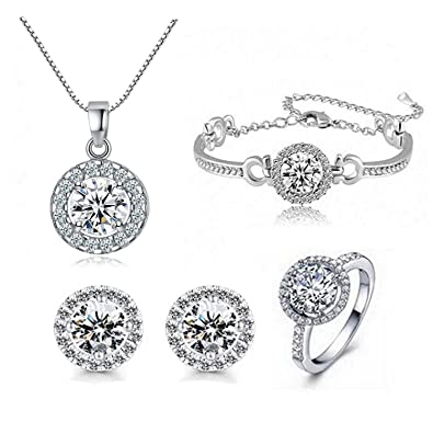 9de7dd4d0 Silver Plated Crystal Pendant Necklace Earrings Jewelry Set for Women  Christmas Birthday Jewelry Gift Set