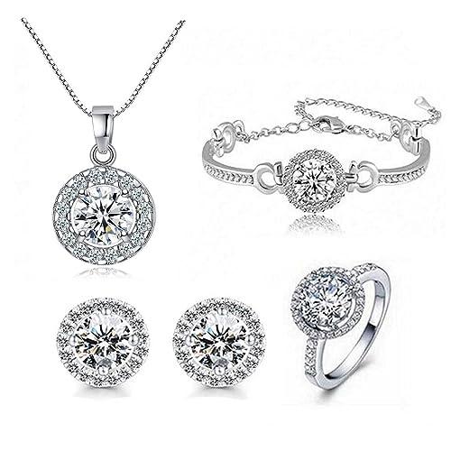 amazon com sti jewels round cut cubic zircon jewelry sets silver