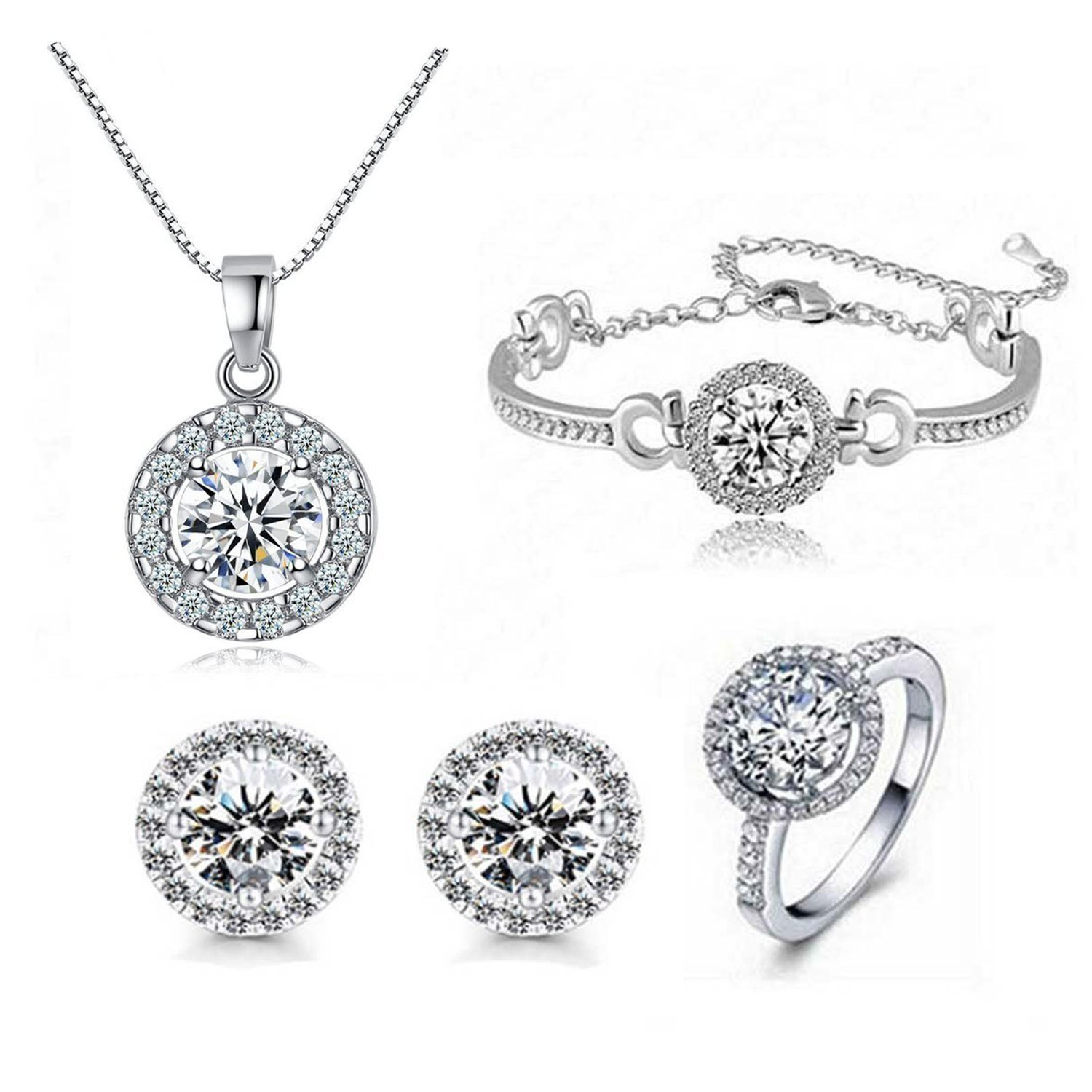 STI-JEWELS Round Cut Cubic Zircon Rings Necklace Earrings Set Silver Plated Crystal Jewelry Sets for Women Girls