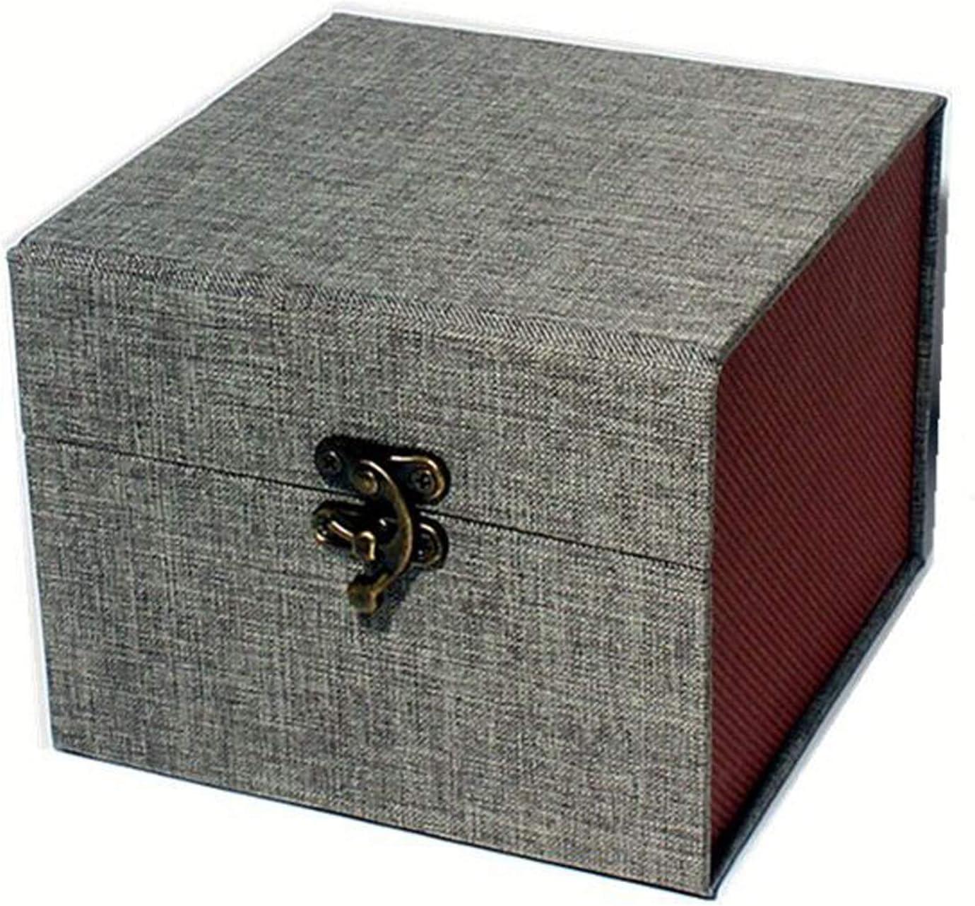 Storage Box with Sponge, Decorative Box Vintage Handmade Craft Box Fragile Gift Box and Home Decor, Azure, 5 x 5 x 4 inch