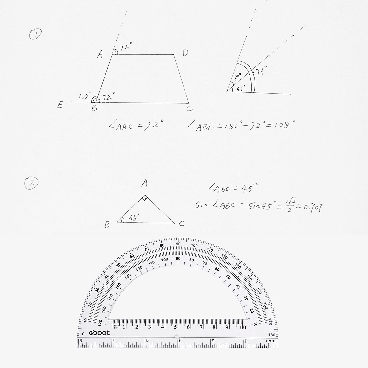 eBoot Plastic Protractor Math Protractors 180 Degrees, 6 Inches, Clear, Pack of 2 by eBoot (Image #6)