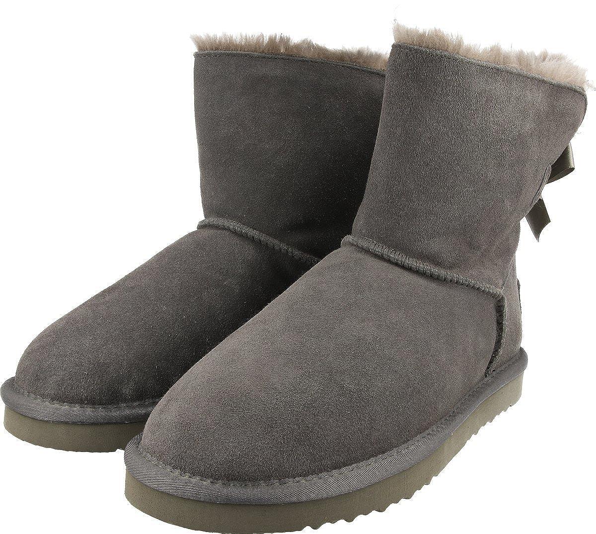 OOG Damen Leder Schlupfstiefel   warme warme warme gefütterte Single-Bow-Stiefel `Mini´ Stiefeletten   Winter-Schneestiefel mit einer Schleife 34e859