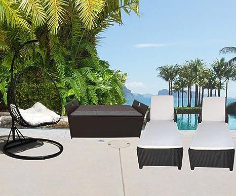 PROLINEMAX - Juego de muebles de mimbre para jardín y patio ...