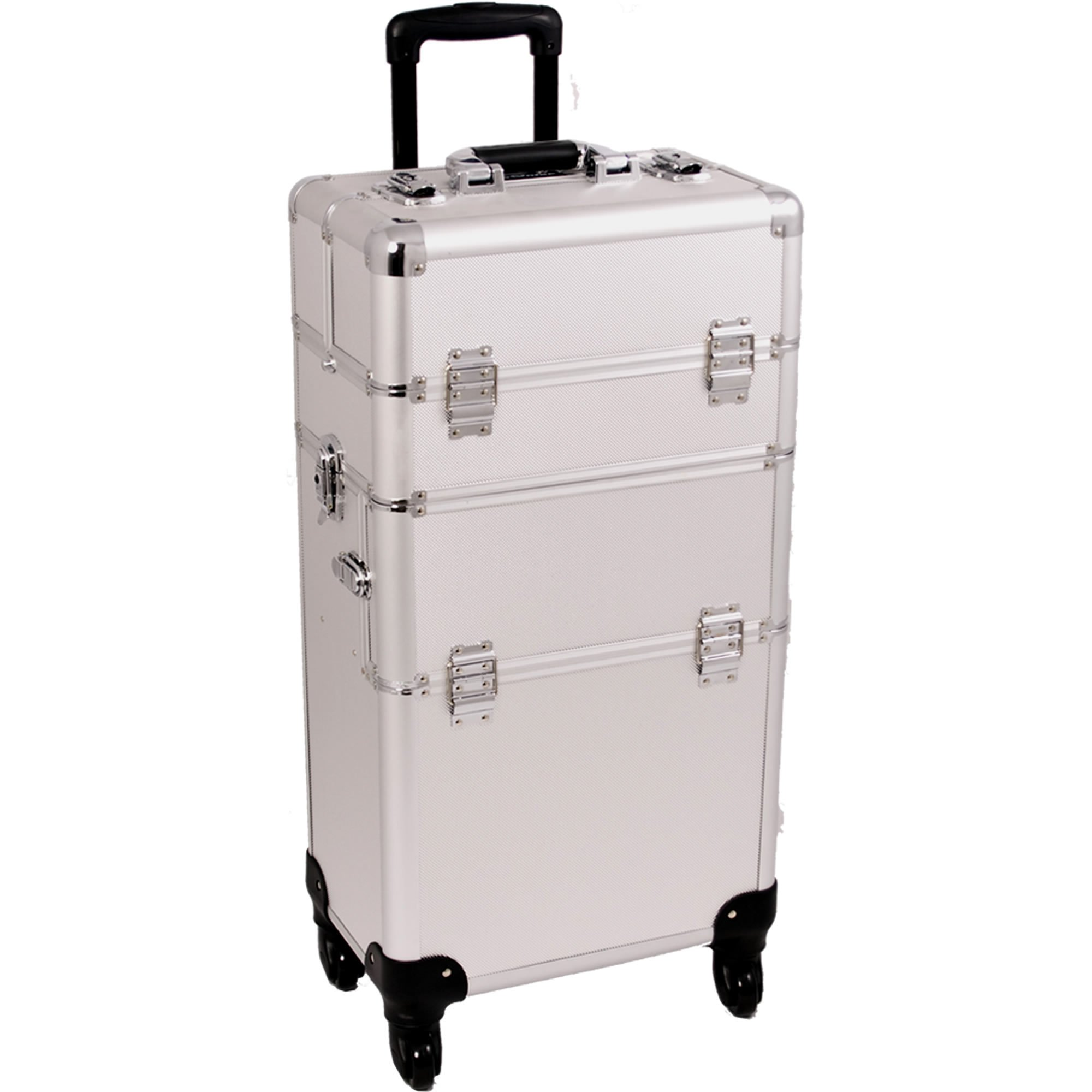 SUNRISE Makeup Case on Wheels 2 in 1 I3561 Hair Stylist Professional, 3 Trays and 1 Removable Tray, Locking with 2 Mirrors, Brush Holder and Shoulder Strap, Silver Dot