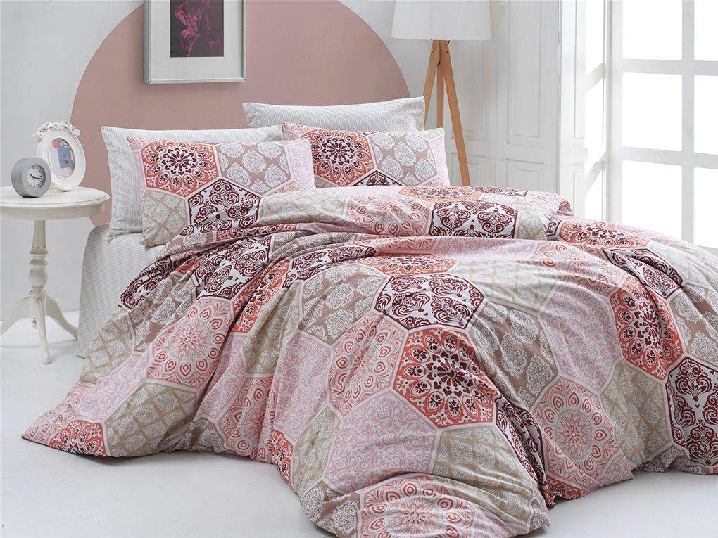 OliLinges Duvet Cover Pink and kaki Queen Size DTS
