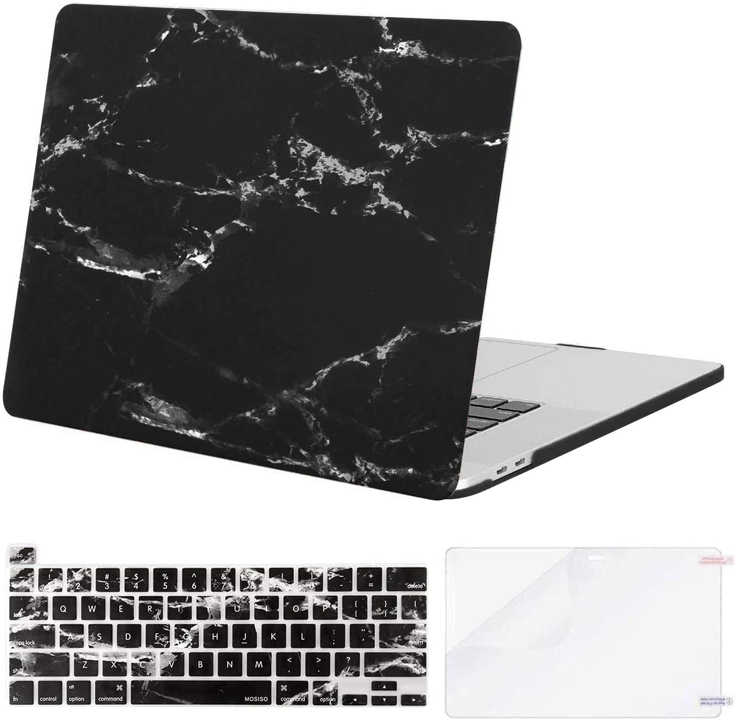 MOSISO MacBook Pro 16 inch Case 2019 Release A2141 with Touch Bar & Touch ID, Plastic Pattern Hard Shell Case & Keyboard Cover & Screen Protector Compatible with MacBook Pro 16, Black Marble