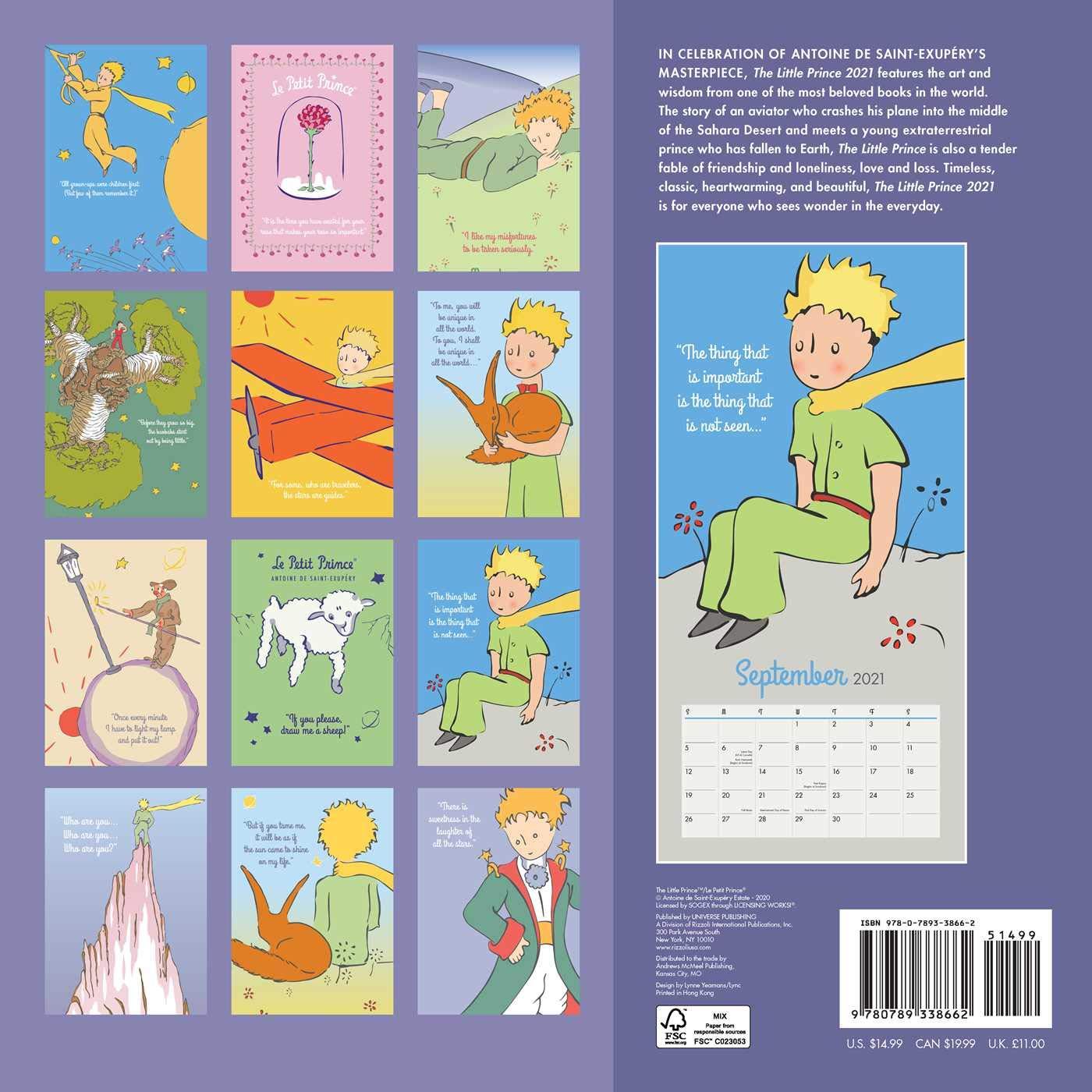 The Little Prince 2021 Wall Calendar: Antoine de Saint Exupery