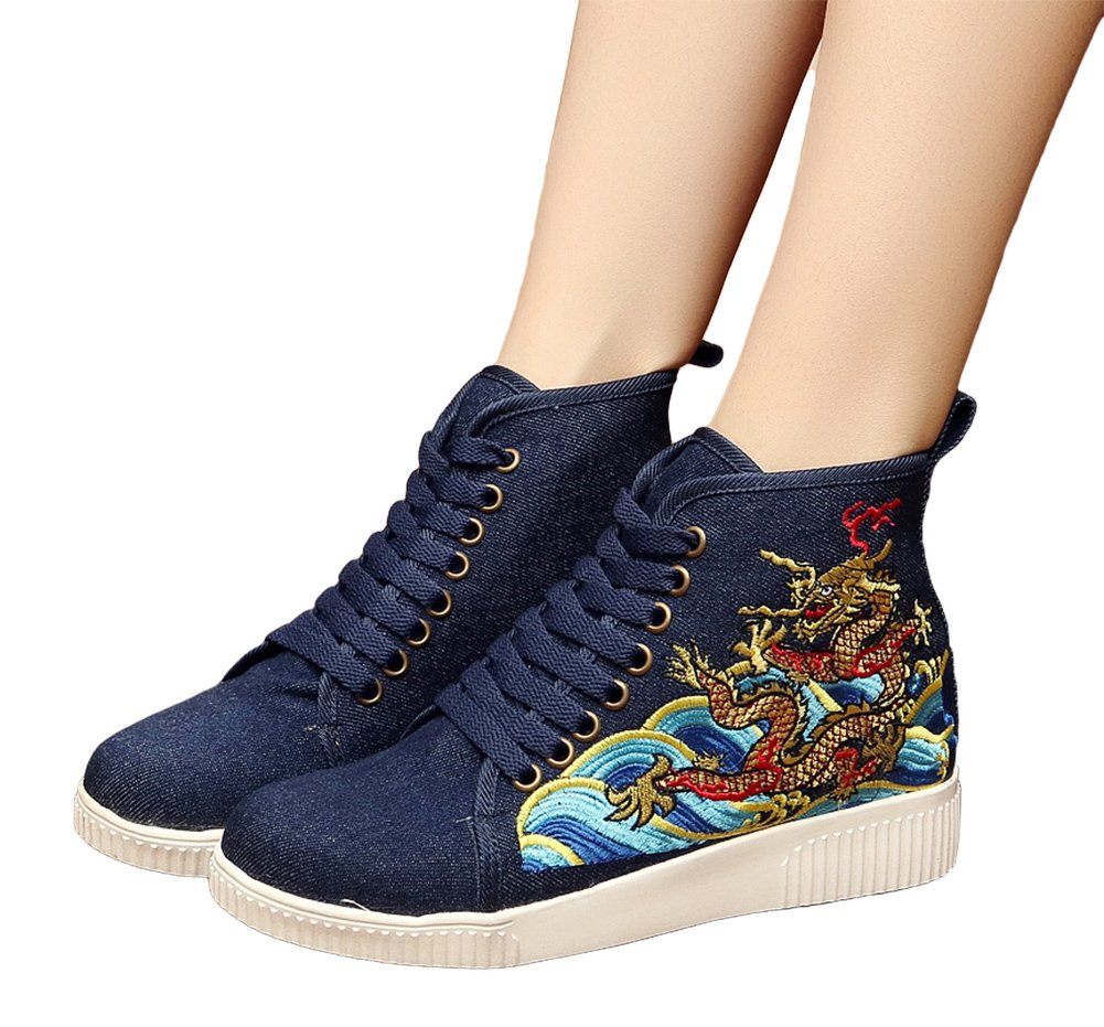 AvaCostume Womens Embroidery High-top Flats Casual Lace-up Walking Shoes, Navy 40
