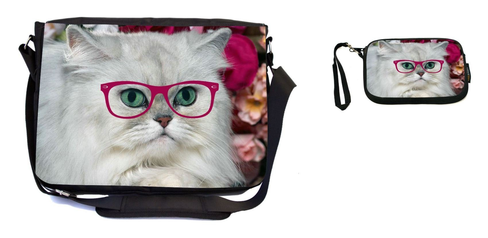 Rikki Knight Hipster White Fluffy Cat with Pink Glasses Design Messenger Bag - School Bag - Laptop Bag - with Padded Insert - Includes UKBK Premium Coin Purse