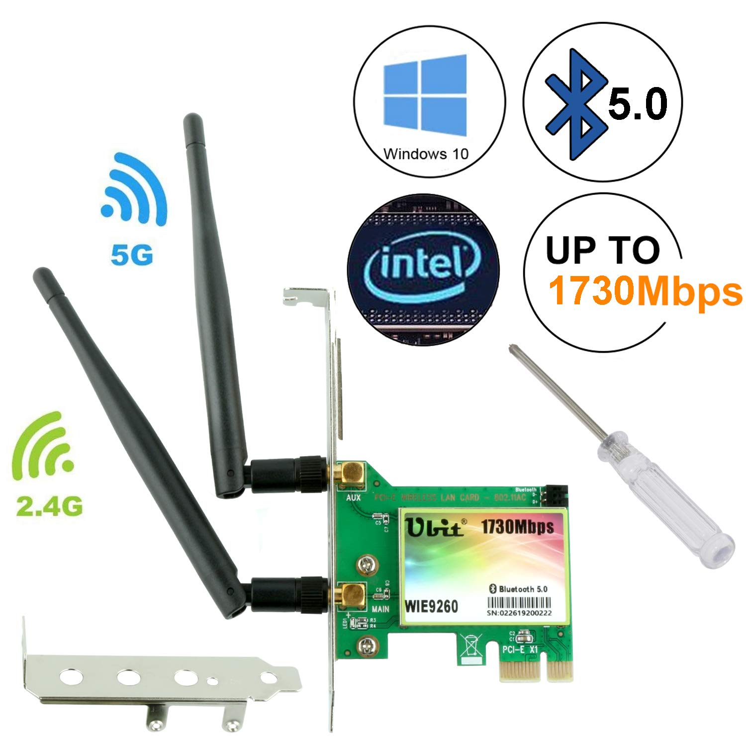 Ubit Gigabit AC 1730Mbps Bluetooth 5.0 Wireless WiFi Card, 802.11 AC Dual-Band WLAN 1730Mbps Network Card with Bluetooth 5.0, Dual-Band 2.4GHz 300Mbps or 5GHz 1430Mbps Network Card for WIN10(WIE9260)