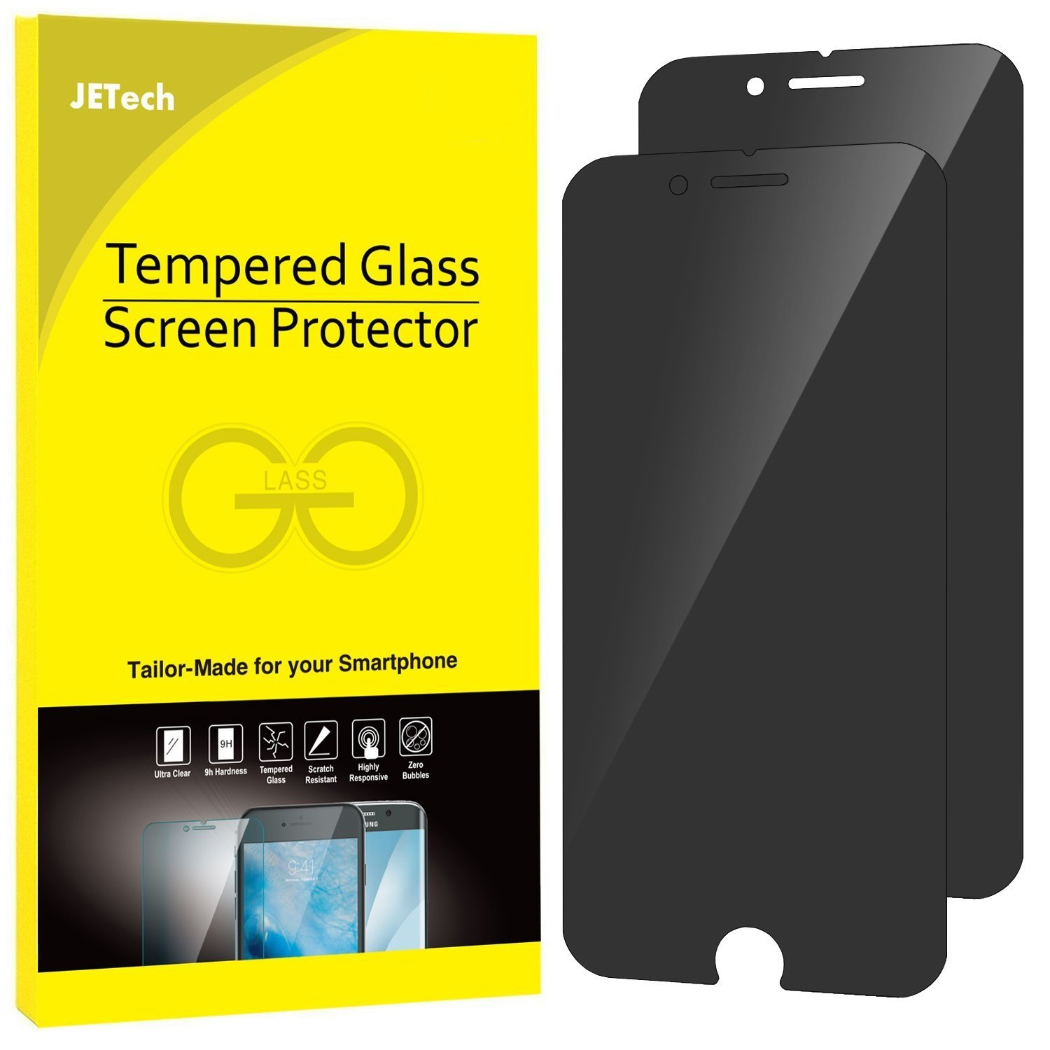 JETech Privacy Screen Protector for Apple iPhone 7 and iPhone 8, Anti-Spy Tempered Glass Film, 2-Pack by JETech (Image #1)