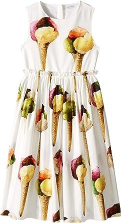 6cf21010af Dolce   Gabbana Kids Girl s Gelato Poplin Dress (Big Kids) White ...
