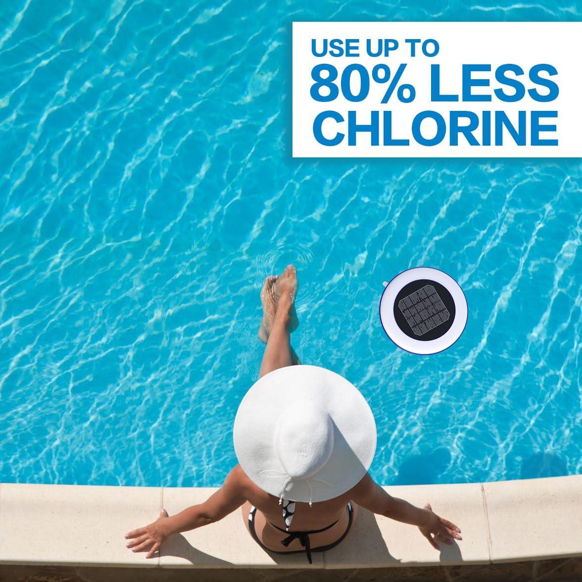 Ionizador de piscina solar: mata algas con un 80% menos de cloro y mantiene el agua brillante, transparente, sin algas, tratamientos de piscina, piscinas de 500 ...