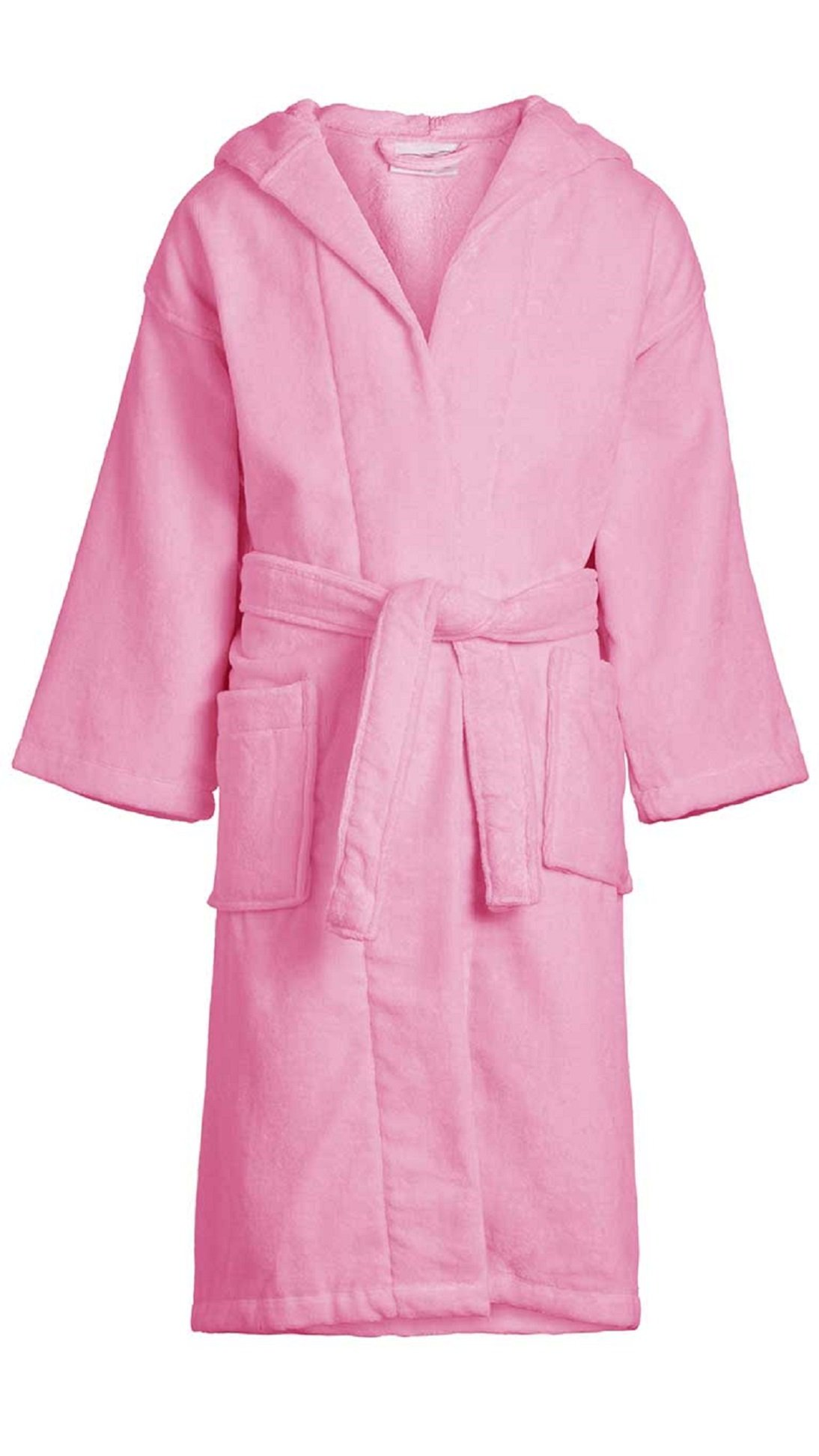 Velour Hooded Bathrobe for Boys Girls 100% Cotton Velour Kid's Robe Wholesale 6 Pcs Pink Large