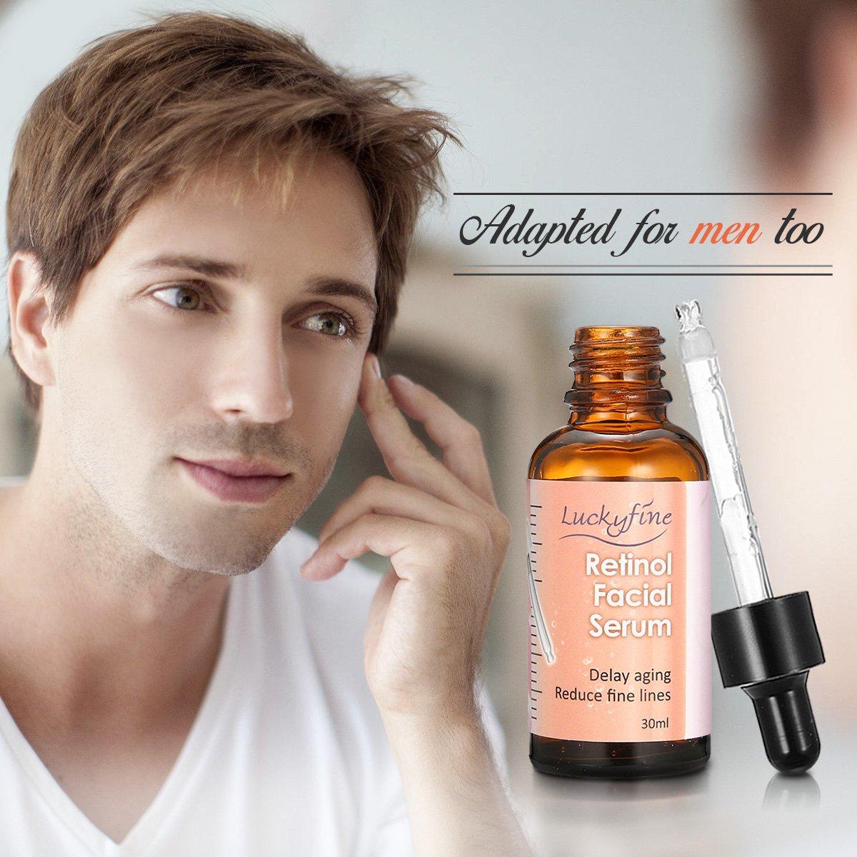 Luckyfine Serum Retinol 2.5% con Vitamina C y Acido Hialuronico - Reducir las arrugas y líneas finas, fretrasar envejecimiento - Anti Edad, Anti Arrugas, ...