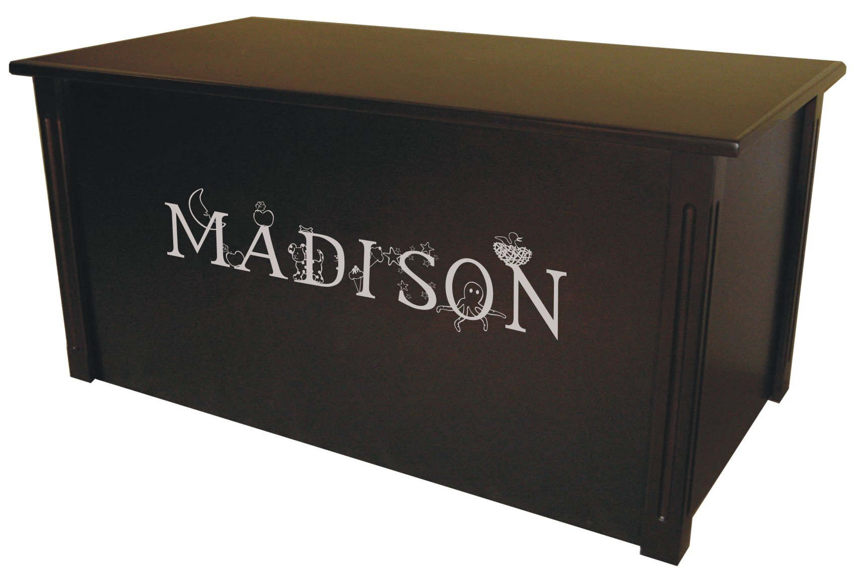 Wood Toy Box, Large Espresso Toy Chest, Personalized Thematic Font, Custom Options (Standard Base - Silver Lettering)