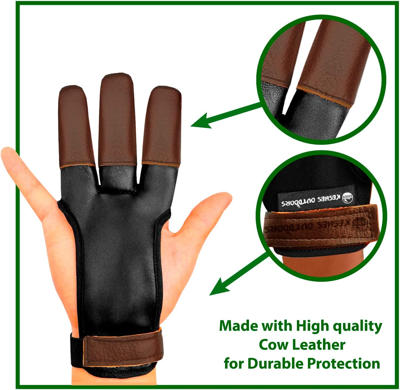 KESHES Archery Glove Finger Tab Accessories Large Leather Gloves for Recurve /& Compound Bow Three Finger Guard for Men Women /& Youth