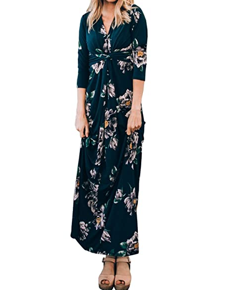 Womens Floral Maxi Dress Tie Knot V Neck Empire Waist 3/4 Sleeve Summer  Dresses