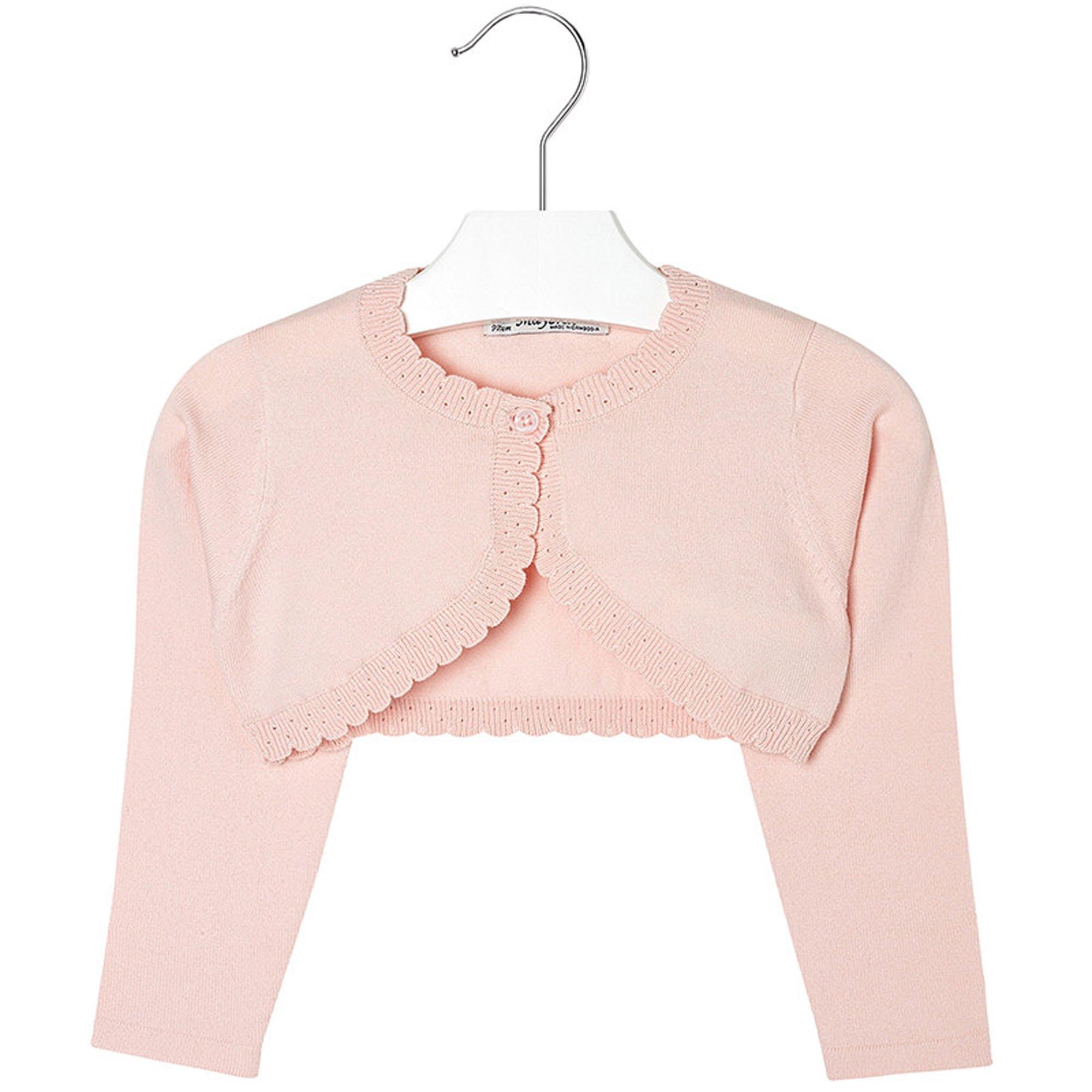 Mayoral Girls 2T-9 Light Rose-Pink Scallop Edge Knit Shrug Cardigan Sweater, Rose Paste,9