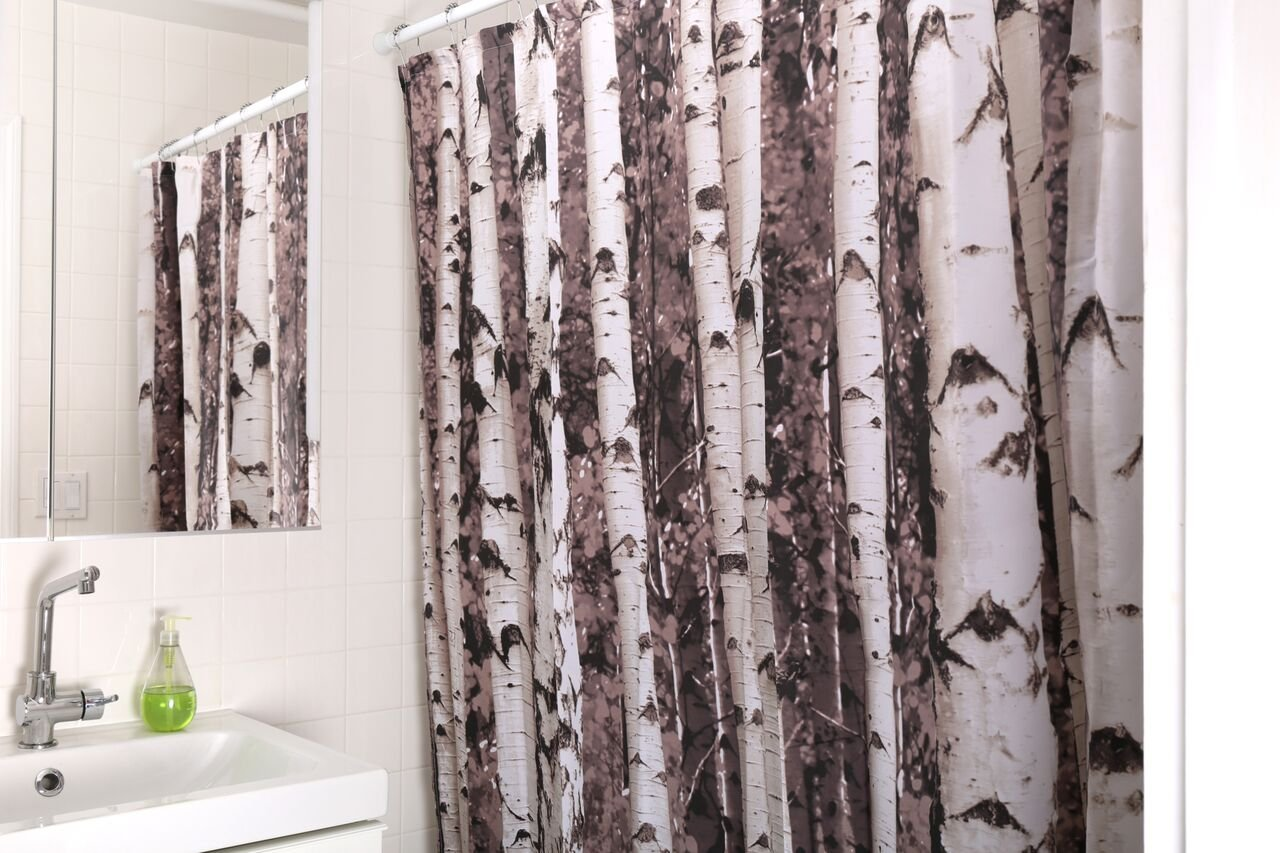 Amazon.com: Kikkerland Shower Curtain, Polyester, Birch: Home & Kitchen