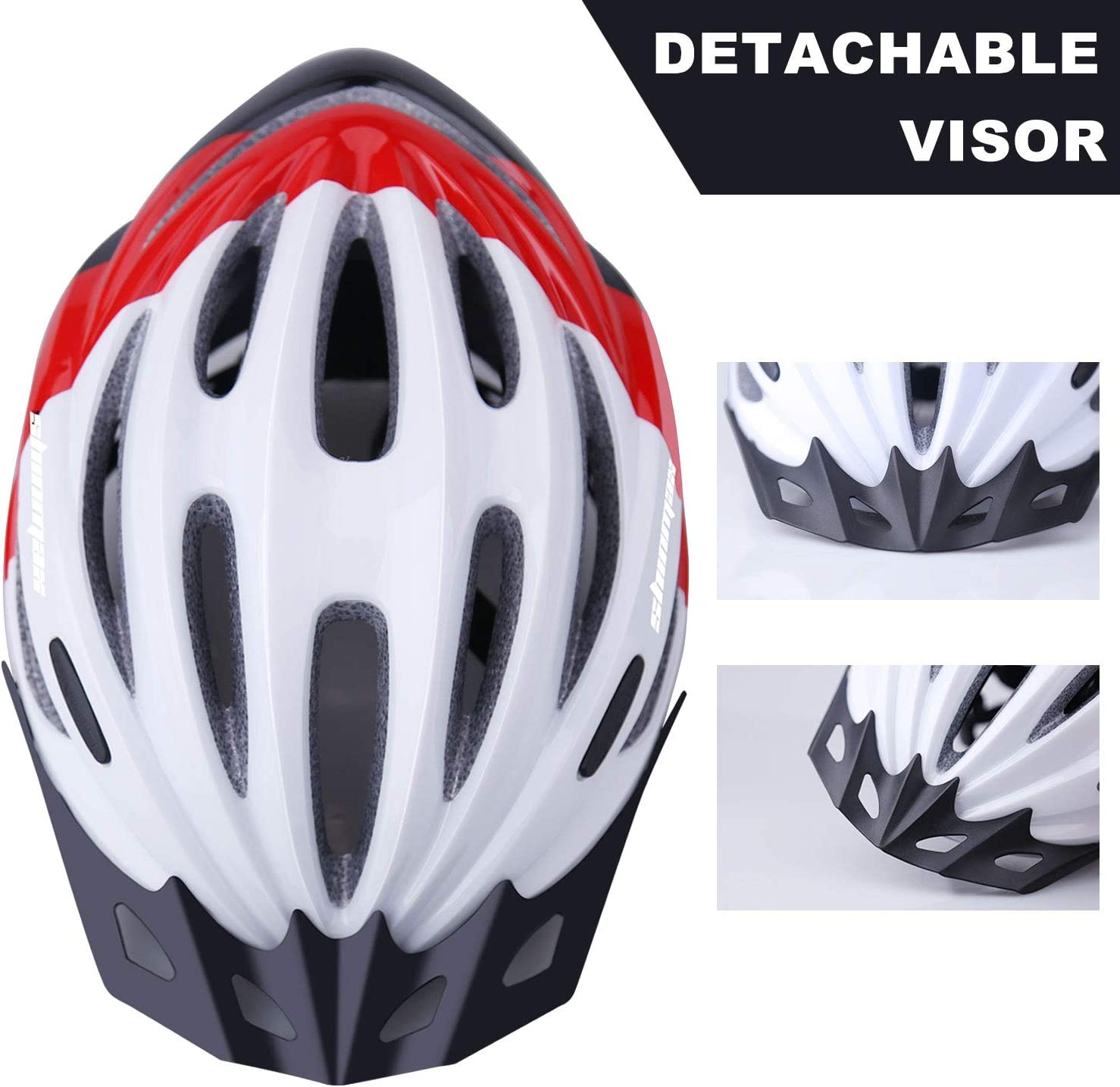 Shinmax Adult Bike Helmet,Bicycle Helmet Men with Removable Magnetic Goggles /&Detachable Sun Visor /& USB Chargeable LED Light Adjustable Cycling Helmet Women Specialized Road Mountain Helmet SM-T98