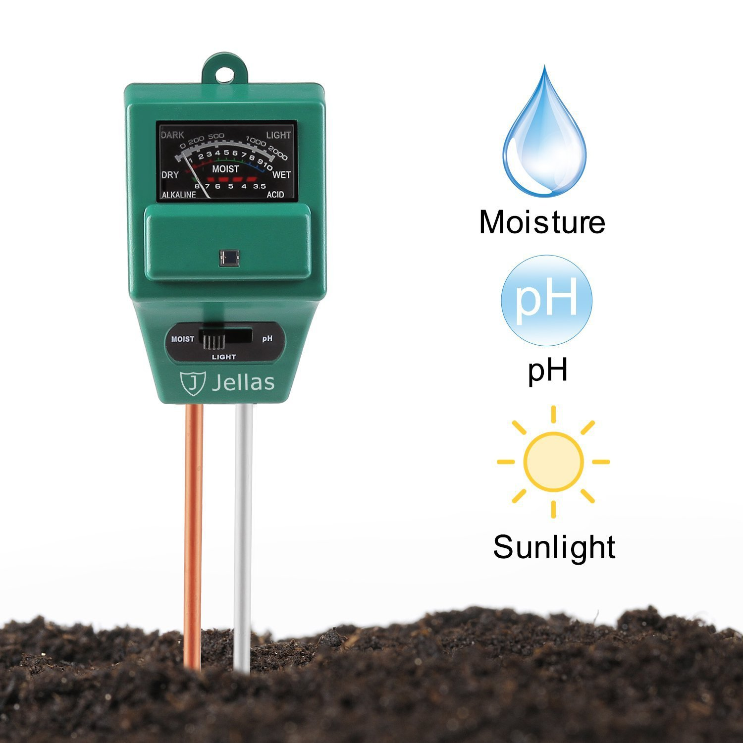 Jellas Soil pH Meter, 3-in-1 Moisture Sensor Meter/Sunlight/pH Soil Test Kits test function for Home and Garden, Plants, Farm, Indoor/Outdoor Use by Jellas