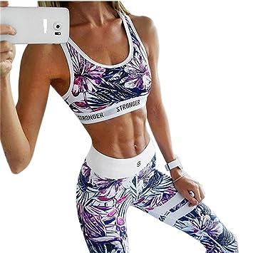 Aibayleef Mujer Fitness Pantalones Conjuntos de Yoga Tops + Leggins  Impresión Gym Fitness Set 2 Piezas 8d752f1115dc5