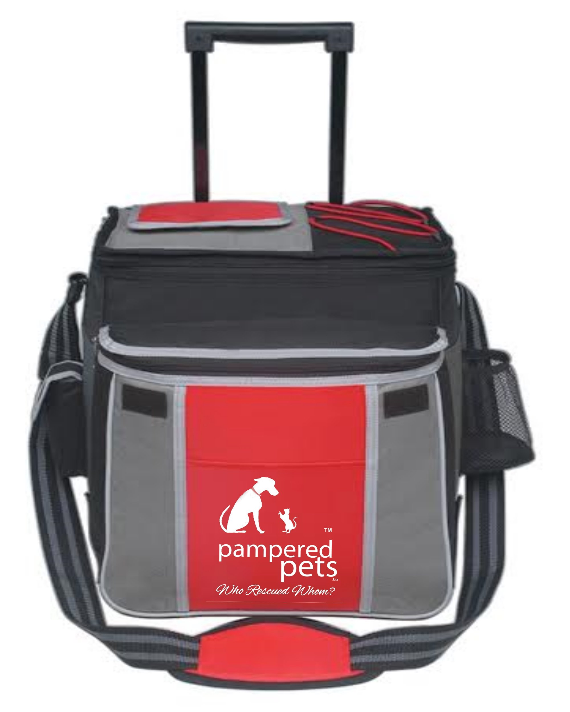 Pampered Pets ''Who Rescued Whom'' Flip Flap Rolling Cooler, Red