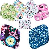 Rovtop 7PCS Reutilizables de Toallas Femeninas - 2 x 31 cm Compresa Menstrual Reutilizable para Noche, 4 x 20 cm Compresa Reutilizable Protectores Diarios + 1 Bolsa de Transporte Mini