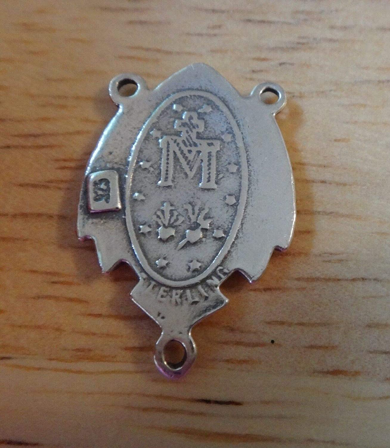Sterling Silver 21x14mm Miraculous Mary Rosary Center Symbol on Back Charm