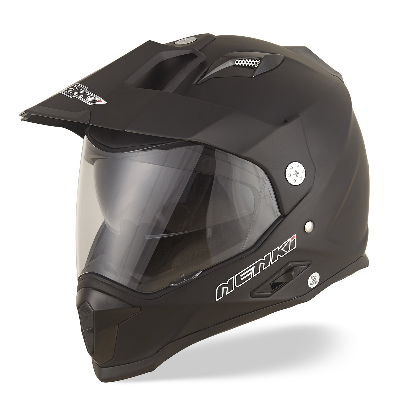 mit Doppelvisieren NENKI NK-313 Dual Sport Adventure Enduro Motorradhelme ECE-gepr/üft Schwarz Blau Matt, L