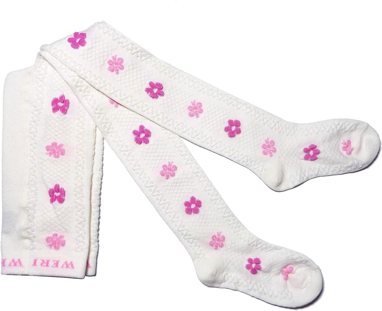 Fine Flower Filet Pattern in Cream. Weri Spezials Baby and Childrens Tights
