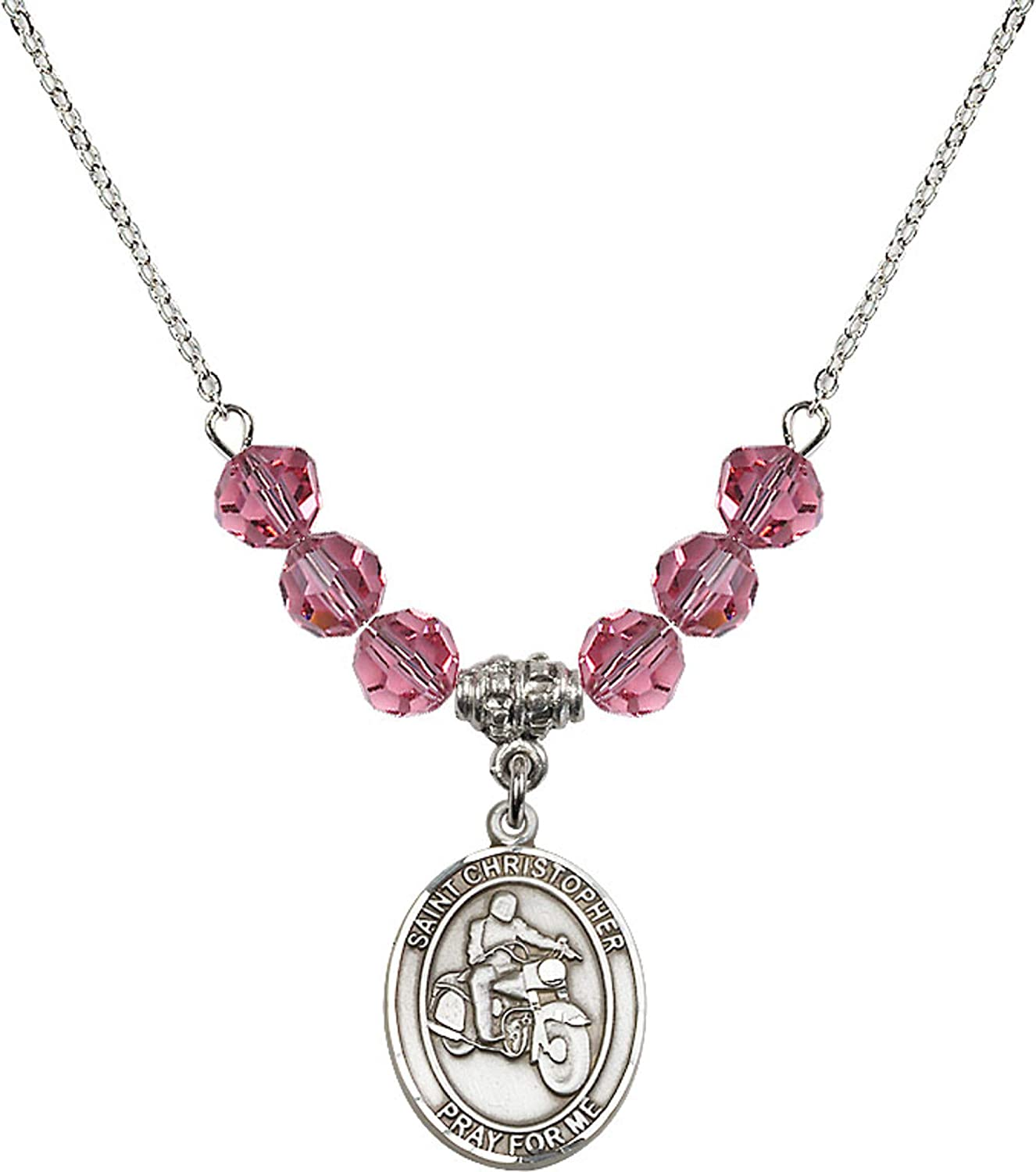 Bonyak Jewelry 18 Inch Rhodium Plated Necklace w// 6mm Rose Pink October Birth Month Stone Beads and Saint Christopher//Motorcycle Charm