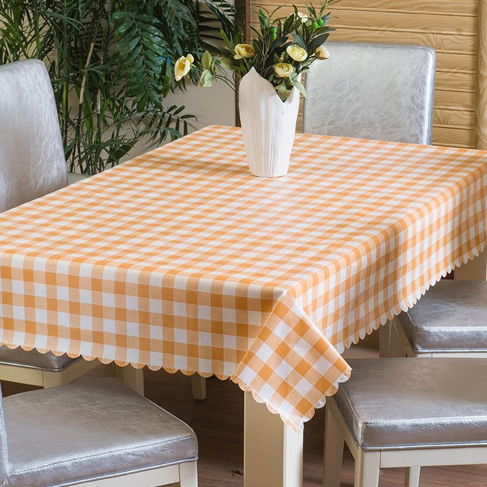 Uforme Contemporary 60 Inches Square Table Cloth Oil Proof and Mildew Resistant, Environmentally Plastic Table Cover Plaid for Everyday Use, Orange