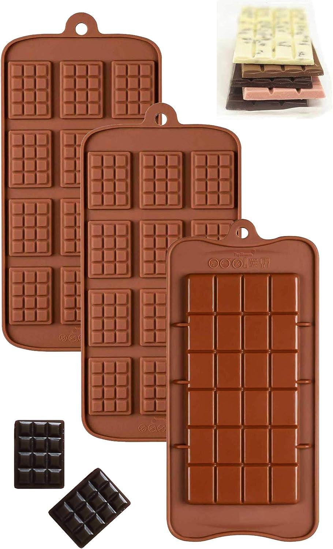 Paquete de 3 moldes de silicona antiadherentes para chocolate, frituras y chocolate, proteína de caramelo y moldes para hornear