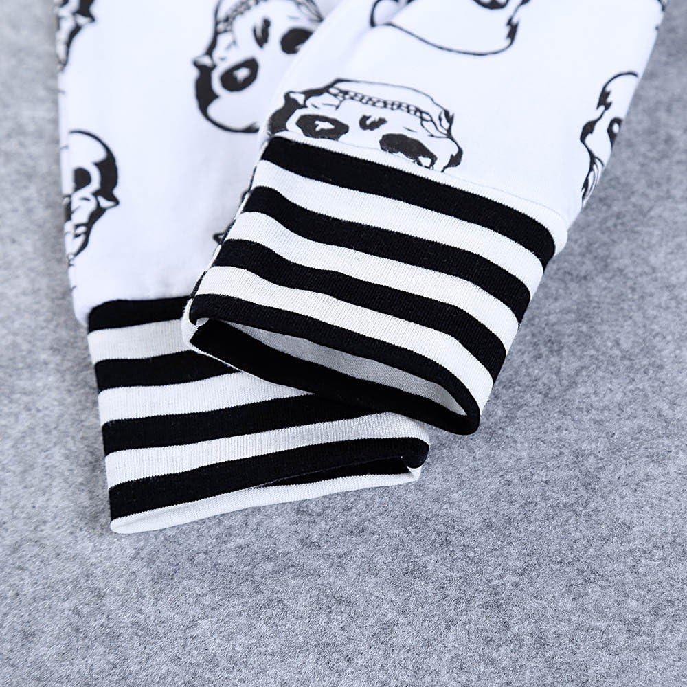 MAYOGO Conjunto Ropa Bebe Recien Nacido Ni/ño 0 a 3 Meses Disfraz Halloween Ni/ño Calavera Camiseta Manga Corta y Pantalones y Sombrero y Guante Bebe Pijama Traje de Beb/é ni/ño 0-24 Meses
