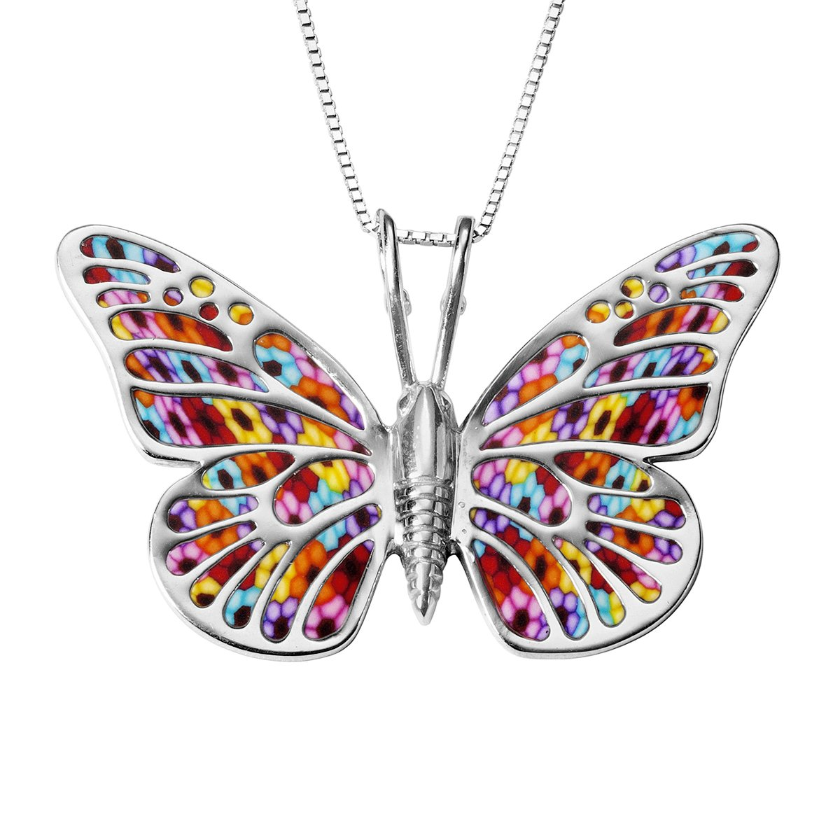 925 Sterling Silver Butterfly Necklace Pendant Multi-Colored Polymer Clay Handmade Jewelry, 16.5'' Chain