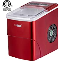 VIVOHOME Countertop Ice Maker Machine with Full Visible Window, 26 lbs Ice in 24 Hrs, Ice Scoop Included, Red
