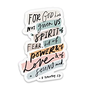 Christian stickers about faith, Jesus, scripture, prayer | 2 Timothy God has not given us a spirit of fear | Waterproof vinyl decals for a Bible journal, laptop, water bottle etc