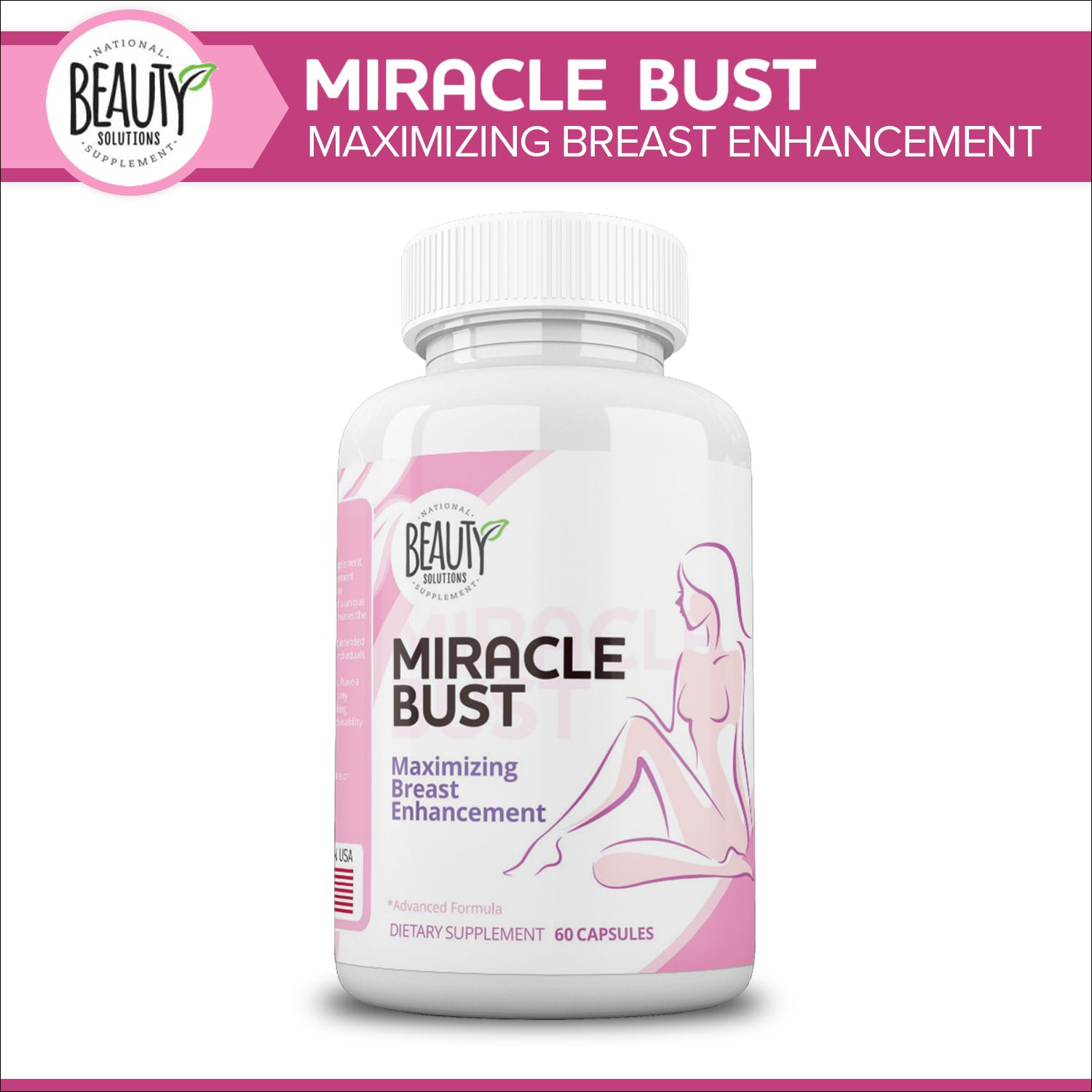 National Beauty Solutions- Miracle Bust- Safe and Effective Breast Enhancement Supplement- Augmentation Alternative- Enhance Appearance and Size of Breasts Naturally and Effectively
