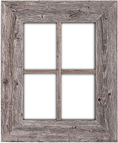 BarnwoodUSA Rustic Wood Window Frames – 100 Authentic Reclaimed Wood, Weathered Gray Hanger Included