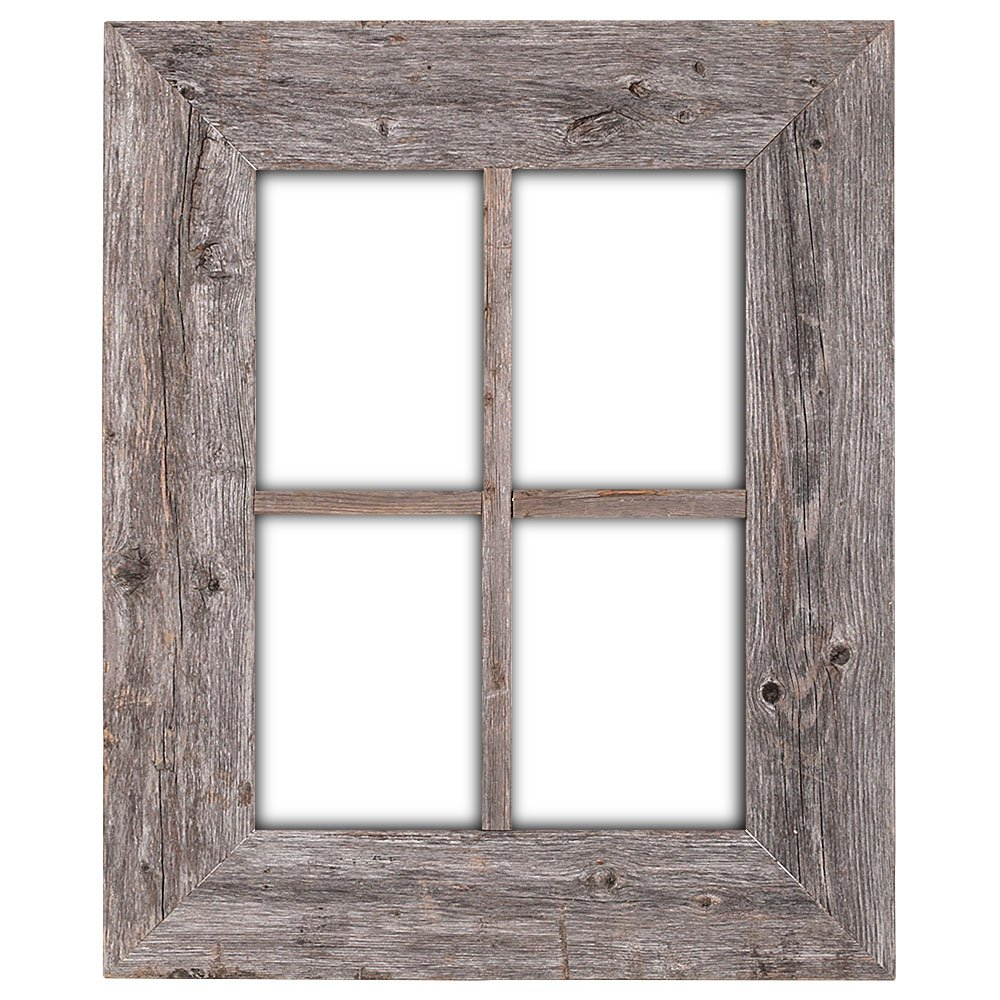 BarnwoodUSA Rustic Wood Window Frames - 100% Authentic Reclaimed Wood, Weathered Gray (Hanger Included)