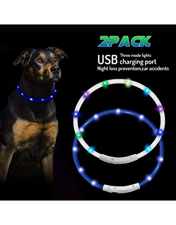 ZHOUBA LED Pet Dog Collar Blue USB Rechargeable Pet Safety Collar Waterproof Light up Flashing Dog Collar