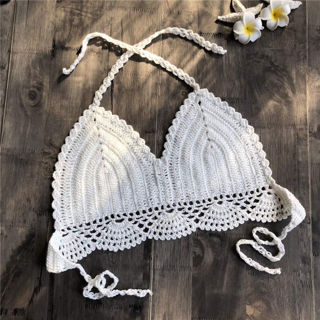 e5b8cad79d HucodeVan Bikini en Crochet à la Main Poitrine enveloppée Maillot de Bain  Fendu Sauvage Mode Femelle Sexy Dentelle Soutien-Gorge Plusieurs Couleurs:  ...